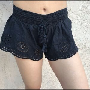 Pants - Black eyelet shorts